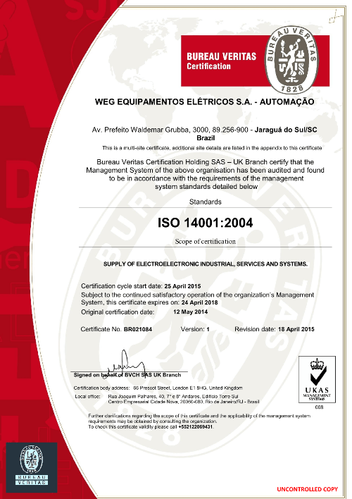 Standard Certificate of Electromotor